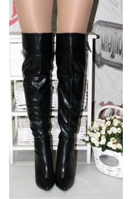 Зимняя Сапоги ботфорт без  ничего  класика  кожа  каблук  9 см ла 8 черный эко  кожа 22459 Китай