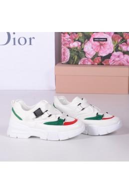 Демисезонная Кроссовки на тесьме по типу Gucci  Sneaker,подошва 5 см,маломерят на размер, Loretta белый+зеленый+красный эко кожа+обувной текстиль 22802 польша