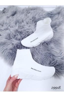 """Демисезонные Кроссовки носки высокие """"Balenciaga """" Viol; Подошва сзади-4,5 см; спереди-2,5 см ; Высота от пятки 12 см; Размер в размер;с 36 по 41; 36-23,5; 37-24; 38-24,5; 39-25-25,5; 40-26-26,5 см. белый обувной  текстиль 29918 польша"""