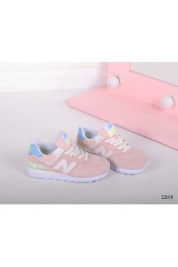 Демисезонная Кроссовки кросы  New Balance цветная пяточка розовый натуральная  замша 22058 Китай