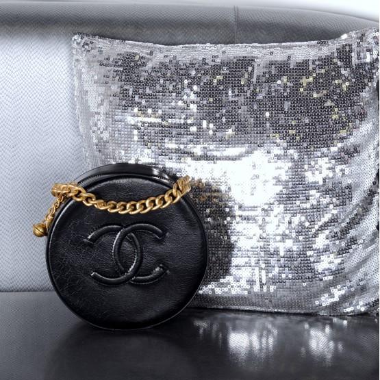 Сумки шанель  круглая черная кожа эко 21942 Украина