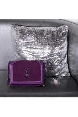 Сумки Клатч YSL бургунди натуральный замш+кожа 22517 Китай