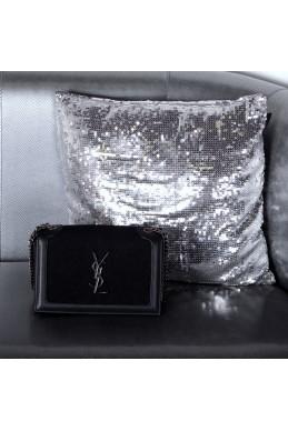 Сумки Клатч YSL черный натуральный замш+кожа 22518 Китай
