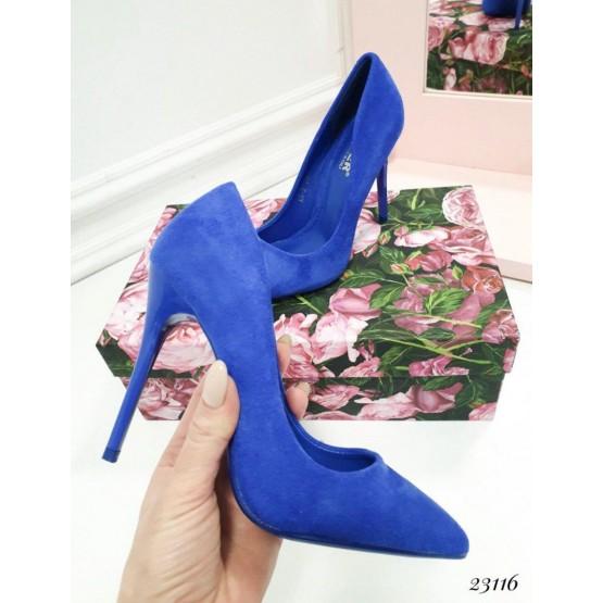 Демисезонные Туфли классика Comer; Высота каблука 10,5 см см; размер в размер; синий эко замш 23116 польша