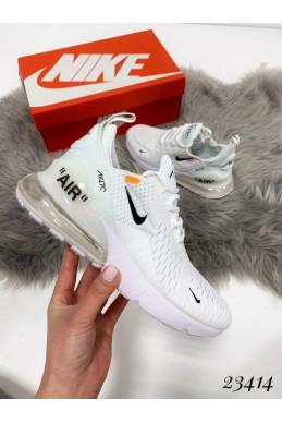 Демисезонные Кроссовки Nike Air Max 270 ; Подошва сзади-6 см; спереди-2 см ; Высота задника 6 см; с 36 по 40; 36-22,5 ; 37-23,5; 38-24 ; 39-25 ; 40-25.5 . белый текстиль 23414 вьетнам