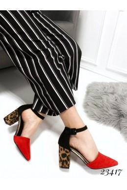 Летняя Босоножки каблук леопард; Высота каблука 8см,  размер в размер ; с 36-41 ; 36 -23,5; 37 -24 ; 38 -24,5;  39 -25; 40 -25,5; 41 - 26 см . красный Эко замш 23417 польша