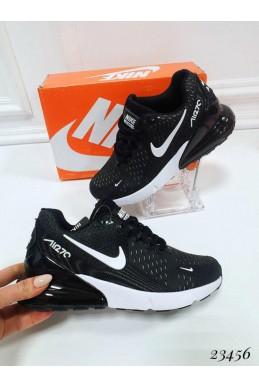 """Демисезонные Кроссовки  """"Nike Air Max 270"""" Подклад  текстиль ; каждая  пара  в  коробке  ;Подошва сзади-3.5 см; спереди-1,5 см ; Высота задника 8 см; Размер в размер;с 37по 41; 37-23,5 ; 38-24; 39-24,5 ; 40-25,5 ; 41-26 см. черный РЕЗИНА 23456 У"""