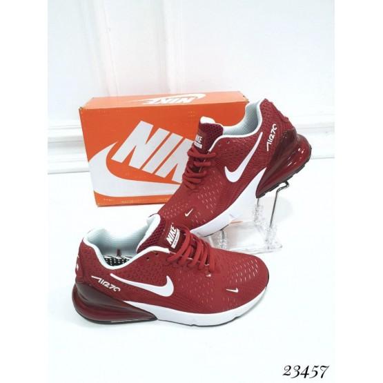 """Демисезонные Кроссовки  """"Nike Air Max 270"""" Подклад  текстиль ; каждая  пара  в  коробке  ;Подошва сзади-3.5 см; спереди-1,5 см ; Высота задника 8 см; Размер в размер;с 37по 41; 37-23,5 ; 38-24; 39-24,5 ; 40-25,5 ; 41-26 см. бордовый РЕЗИНА 23457"""