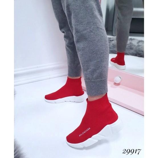 """Демисезонные Кроссовки носки высокие """"Balenciaga """" Viol; Подошва сзади-4,5 см; спереди-2,5 см ; Высота от пятки 12 см; Размер в размер;с 36 по 41; 36-23,5; 37-24; 38-24,5; 39-25-25,5; 40-26-26,5 см. красный обувной  текстиль 29917 польша"""