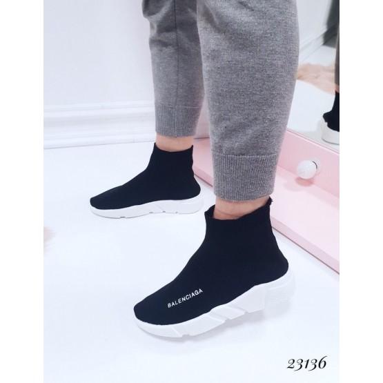 """Демисезонные Кроссовки """"Balenciaga """" Viol; Подошва сзади-4,5 см; спереди-2,5 см ; Высота от пятки 12 см; Размер в размер;с 36 по 41; 36-23,5; 37-24; 38-24,5; 39-25-25,5; 40-26-26,5 см. черный обувной  текстиль 23136 польша"""