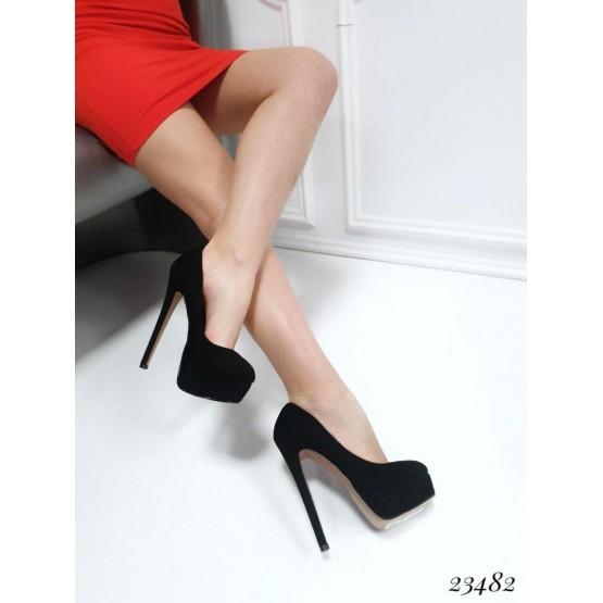 Демисезонные Туфли Christian Louboutin; высота каблука-15см; спереди-3,5 см; размер в размер; с 36 по 40; 36-23; 37-24; 38-24,5; 39-25; 40-25,5 см черный эко замш 23482 Китай