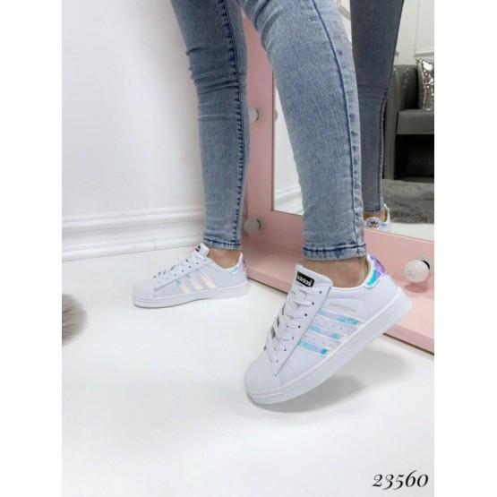 Демисезонные Кроссовки Adidas Superstar; Полоские голограмма;  Подошва 3 см; Высота задника-6.5 см; ;с 36 по 41; 36-23; 37-23,5; 38-24; 39-24,5; 40-25; 41-25,5 см; белый эко кожа 23560 Украина 36(р)