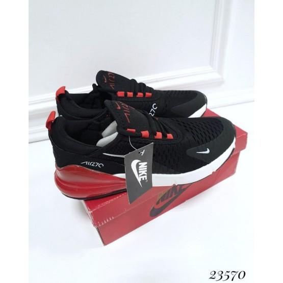 Мужская   обувь Кроссовки Nike Air Max 270 красный задник; Подошва сзади-6 см; спереди-2 см ; Высота задника 6 см; с 41 по 45; 41-26; 42-27; 43- 28; 44- 29; 45- 30; см черный текстиль 23570 вьетнам 41(р)