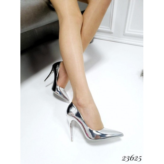 Демисезонные Туфли лодочки Seastar; Высота каблука-10,5 см; размерная сетка с 36 по 41; 36-23,5; 37-24; 38-24,5; 39-25; 40-25,5  см серебро эко лак 23625 польша 36(р)