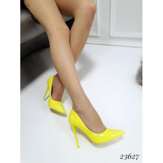 Демисезонные Туфли лодочки S.S.; Высота каблука-10,5 см; размерная сетка с 36 по 41; 36-23,5; 37-24; 38-24,5; 39-25; 40-25,5 см желтый эко лак 23627 польша 36(р)