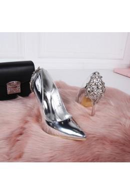 Демисезонные Туфли Туфли лодочки, металик, шикарная пятка, каблук 11,5см серебро эко кожа 25243 польша