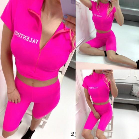 Костюм VLTN топ с велосипедками розовый бифлекс 23725 Китай L(р)