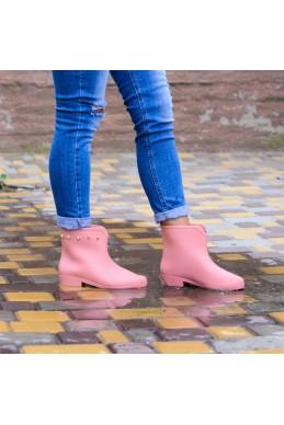 Демисезонная Резиновые сапоги широкое голенище сверху клепочки розовый резина 21316 польша