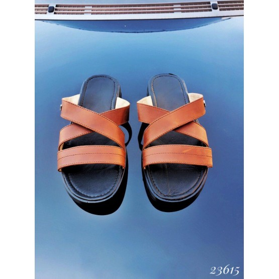 Летняя Мужские шлепки Armani; Размер в размер коричневый натуральная кожа 23615 Украина 41(р)