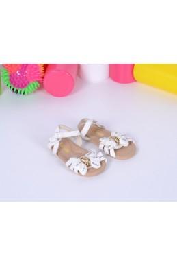 Демисезонная Детская обувь сандалики на липучке  бантик белый эко кожа 17365 Турция