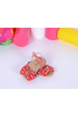 Демисезонная Детская обувь сандалики на липучке  бантик красный эко кожа 17364 Турция