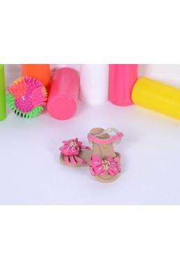 Демисезонная Детская обувь сандалики на липучке  бантик ярко розовый эко кожа 17363 Турция