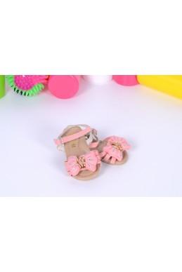 Демисезонная Детская обувь сандалики на липучке  бантик нежно  розовый эко кожа 17362 Турция