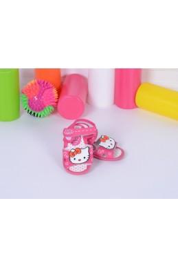 Демисезонная Детская обувь босоножки на липучке пищалки Hello Kitty розовый эко кожа 17360 Турция