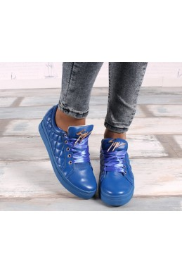 Демисезонная Слипоны КЕДЫ  ЗАНОТИ НАТУРАЛКИ шнурки лента синий нат кожа 16226 Китай