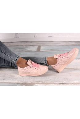 Демисезонная Слипоны КЕДЫ  ЗАНОТИ НАТУРАЛКИ шнурки лента розовый нат кожа 16225 Китай