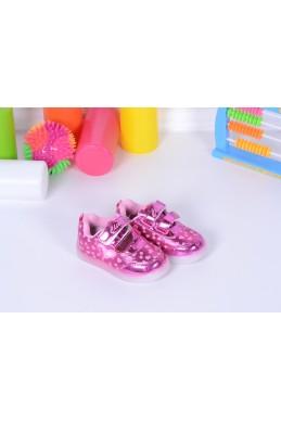 Демисезонная Детская обувь Кедики  Светяшки сердечки малиновый 17340 Турция