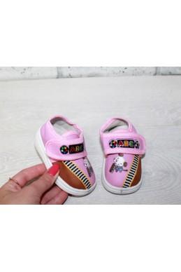 Демисезонная Детская обувь мокасинчики на липучке (пищат при ходьбе) розовый обувной текстиль 17329 Турция