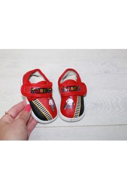 Демисезонная Детская обувь мокасинчики на липучке (пищат при ходьбе) красный обувной текстиль 17327 Турция