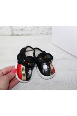Демисезонная Детская обувь мокасинчики на липучке (пищат при ходьбе) черный обувной текстиль 17326 Турция