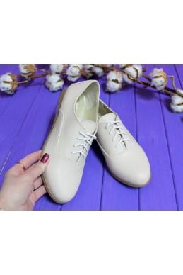 Демисезонная Слипоны туфли  оксфорд светлый  беж ЭКО  ЛАК 15105 Китай