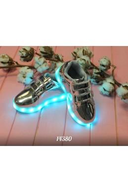Демисезонная Детская обувь кедики  детсике  липучки  светящиеся с 25-35 серебро эко кожа 14380 Турция