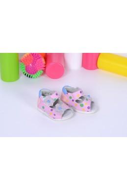 Демисезонная Детская обувь Босоножки Калория (17-20)  ,розовый в горошек ,2 липучки цветочки розовый эко кожа 14377 Украина