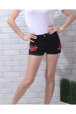 Юбки\шорты шорты шортики красная вышивка цветы черный джинс 17175 Турция