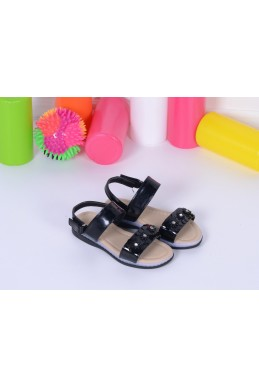 Демисезонная Детская обувь Босоножки светяшки цветочки на резинке черный эко лак 17114 Турция