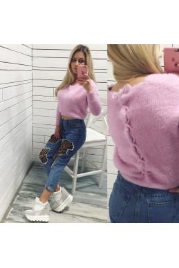 Кофты\свитера ангора  шнуровка розовый нат  замш 19216 Китай