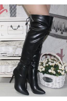 Демисезонная Ботфорты Ботфорты  узкий носик сзади шнуровка каблук 10,5 см высота 52 см эко кожа черный эко кожа 13696 Италия
