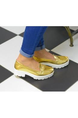 Летняя Туфли Низкие  туфли  золотые  трактор  подошва  толстая золотые эко  кожа 9435 Турция