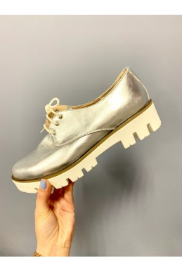 Демисезонная Слипоны туфли  оксфорд  серебро  замш серебро натуральный  замш 15109 Китай