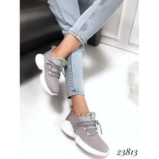 """Демисезонные Кроссовки Violeta """"Adidas""""; высота подошвы сзади-4,5см, спереди-1,5см; размерная сетка с 36 по 40: 36-22,5; 37-23,5; 38-24; 39-24,5; 40-25 см серый текстиль 23813 Китай 36(р)"""