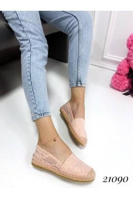 Демисезонная Слипоны Эпадрильи сиа гипюрчик пудра обувной  текстиль 21090 польша