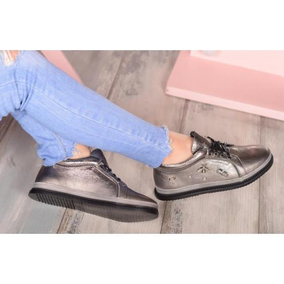Кеды кожаные на шнурках