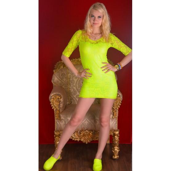 Платье гипюр  неон