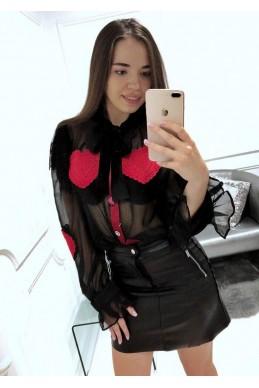 Черная блуза Сердце