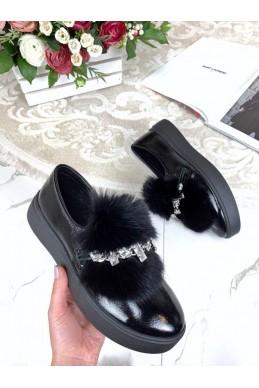Туфли автоледи лакированные с украшением