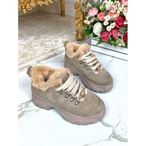 Ботинки замшевые на спортивной подошве с меховой опушкой
